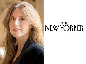 Professor Helene Landemore and the cover of The New Yorker