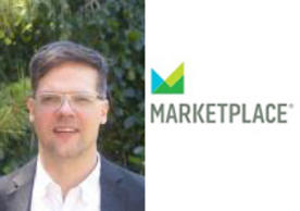 Image of Professor Alex Coppock and icon for Marketplace.com