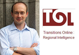 Professor Milan Svolik and icon for Transitions Online