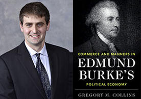 Gregory Collins and the cover of his new book, Edmund Burke's Political Economy